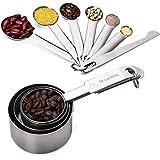 Apicallife Measuring Cups & Messlöffel mit Meßlineal Set (11 Pcs), Edelstahl Messbecher Messlöffel Für Trockene und Flüssige Zutaten, Silber …
