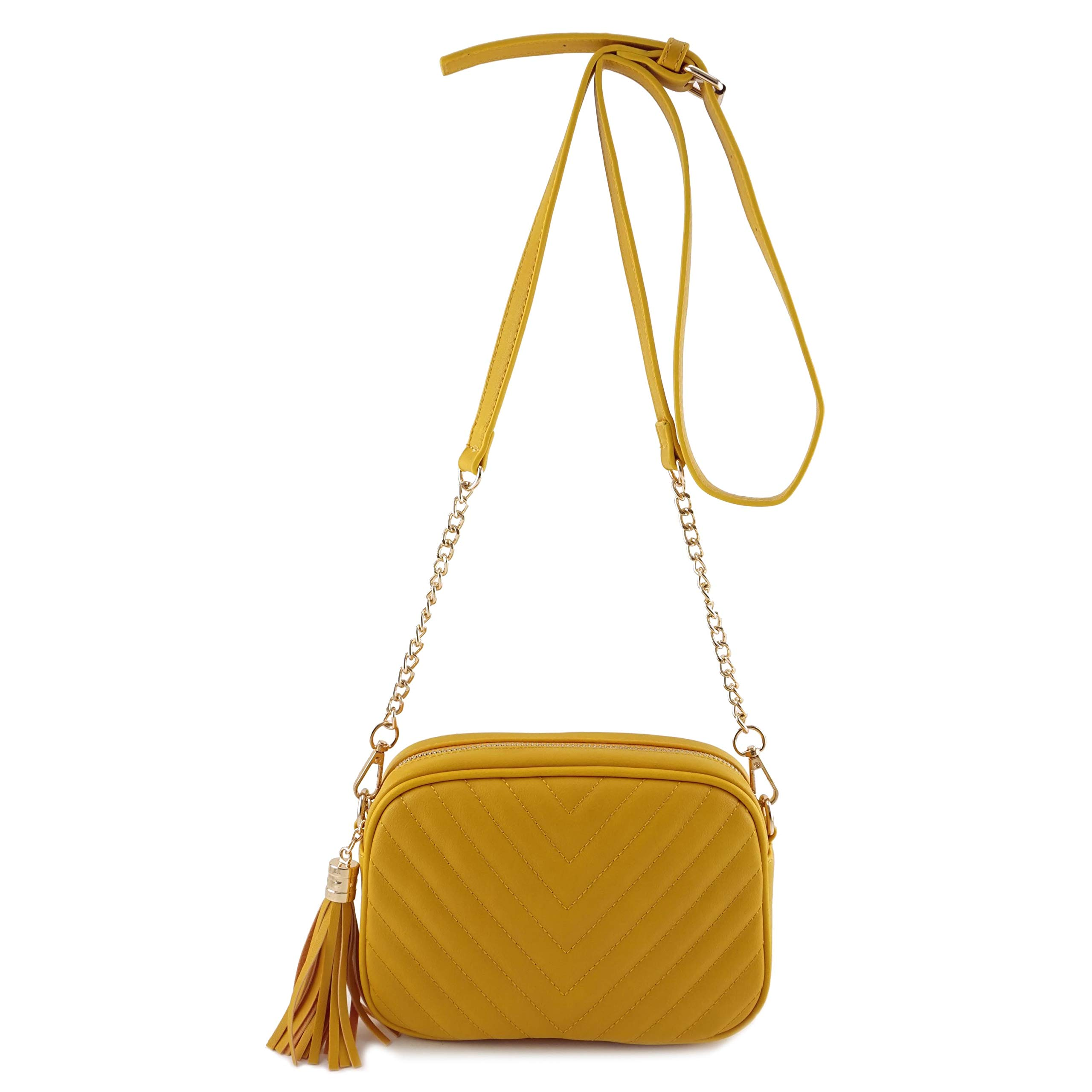 Simple Shoulder Crossbody Bag With Metal Chain Strap And Tassel Top Zipper (Mustard)