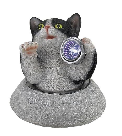 Zeckos Kitty Climber Decorative Cat Statue Led Solar Light Resin Outdoor  Figurine Lights Black