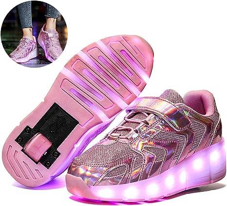 LHY EQUIPMENT Zapatos con Luz LED para Niños, Single Wheel Flashing Luminous Skates Zapatillas Recargables Low Top Tenis Zapatillas Running Outdoor Gymnastics Sneakers,Rosado,30 EU: Amazon.es: Deportes y aire libre