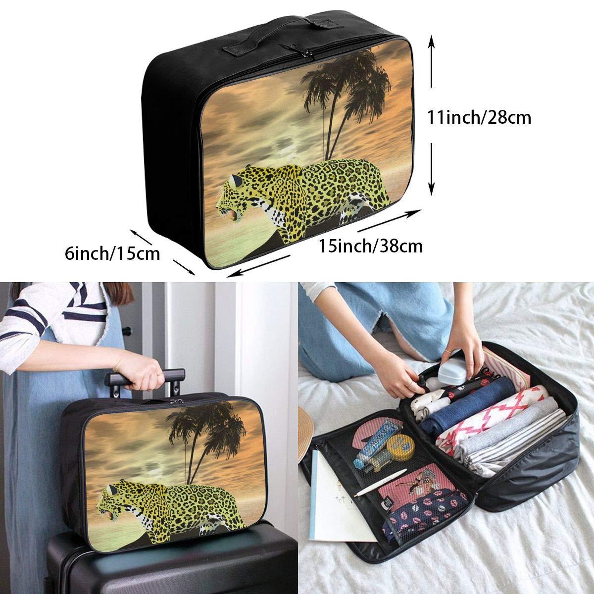 YueLJB Leopard Island Lightweight Large Capacity Portable Luggage Bag Travel Duffel Bag Storage Carry Luggage Duffle Tote Bag