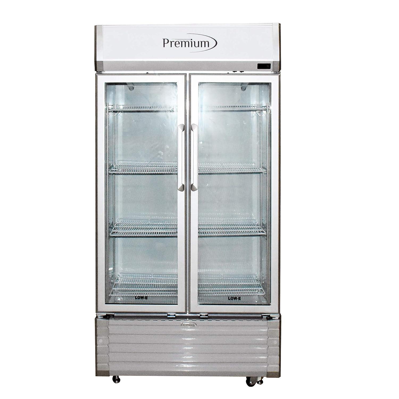 Ft. Silver Double Door Display Beverage Cooler Merchandiser Refrigerator 16 Cu