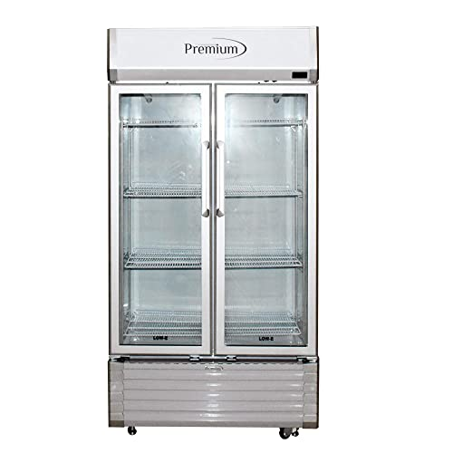 Double Door Display Beverage Cooler Merchandiser Refrigerator