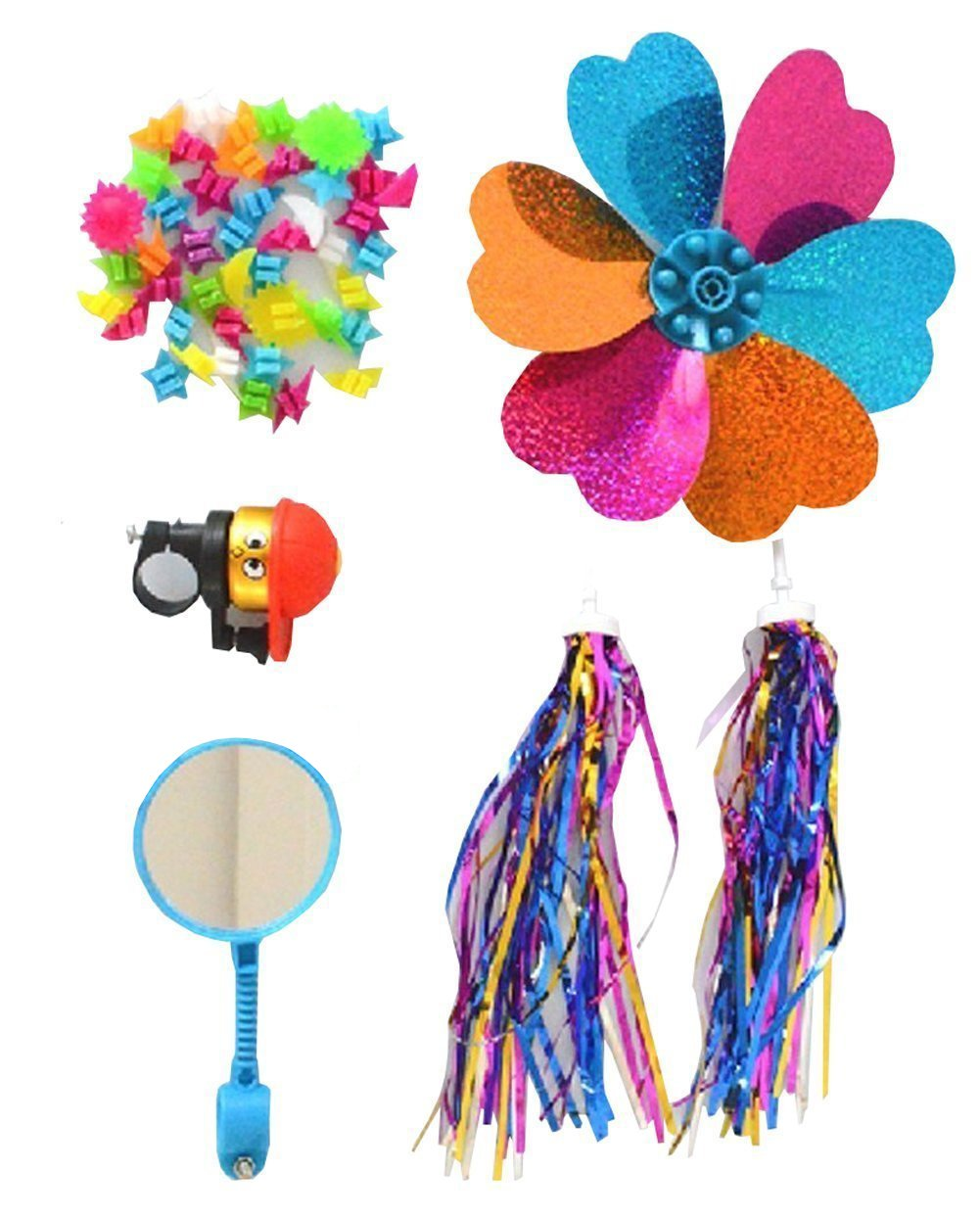 1SET(5PCS) Kids' Bicycle Accessories-Children's Bike Handlebar Streamers Sparkle Tassel Ribbon/Flower Pinwheel/Bicycle Wheel Stars Beads Decoration/Mirror/Bell Ring(Color Random) Elandy