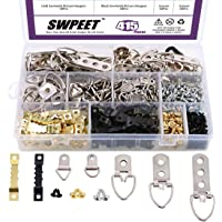 Swpeet 415Pcs Picture Hangers Kit with Screws, Heavy Duty Assorted Picture Hangers Assortment Kit for Picture Hanging…