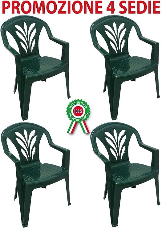 4 sillas Taormina de dura resina de plástico verde, apilables y con reposabrazos para bar, camping, fiestas, restaurantes: Amazon.es: Jardín