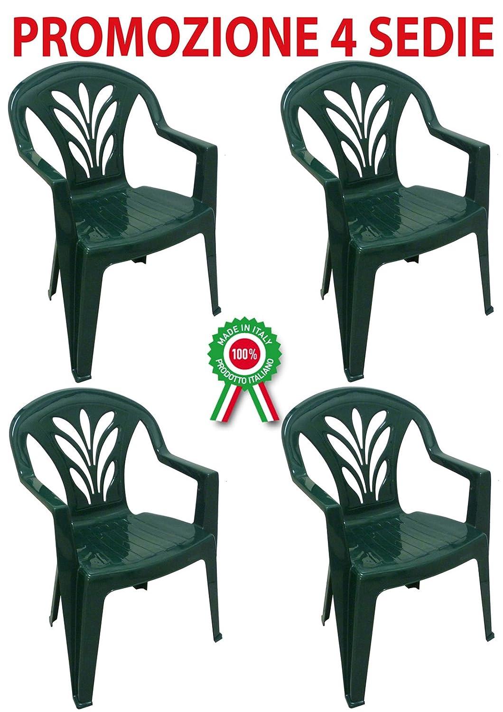 SAVINO FILIPPO SRL 4 Pz Poltrona sedia Taormina in dura resina di plastica verde impilabile con braccioli per bar campeggio sagra ristorante