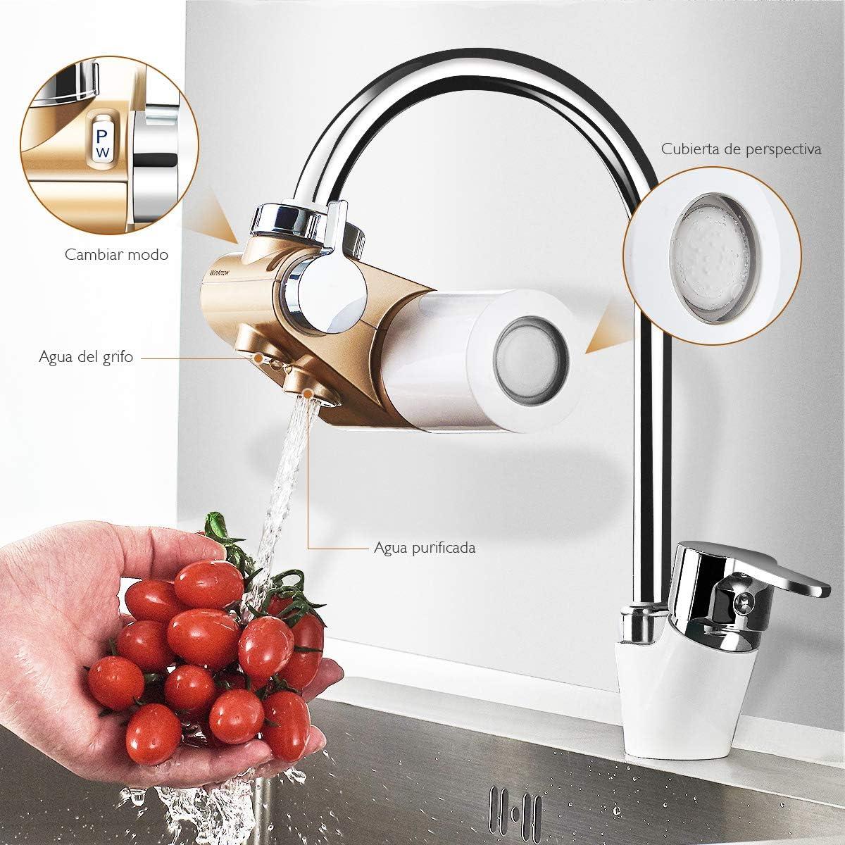 WinArrow- Filtro de Agua Para Grifo, Filtro de Agua Actualizado con KDF55 Filtro de Cerámica de Alta Precisión Eliminar el Cloro para Cocina y Baño: Amazon.es: Hogar