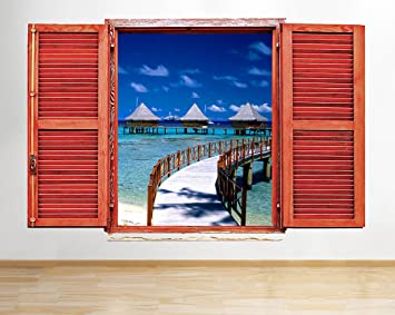 tekkdesigns D884 Bahamas, diseño de caseta de Playa Mar paraíso Ventana Adhesivo Pared 3D Arte Pegatinas Vinilo habitación: Amazon.es: Hogar