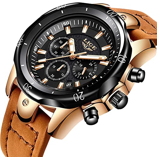 ba273dcbcbd LIGE Brand Mens Watches Waterproof Sport Quartz Analog Leather Watch Luxury  Causal Chronograph Date Brown Wristwatch  Amazon.co.uk  Watches