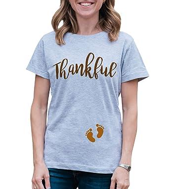 0d79e5e11fac2 Amazon.com: Custom Party Shop Womens Thankful Thanksgiving Pregnancy ...