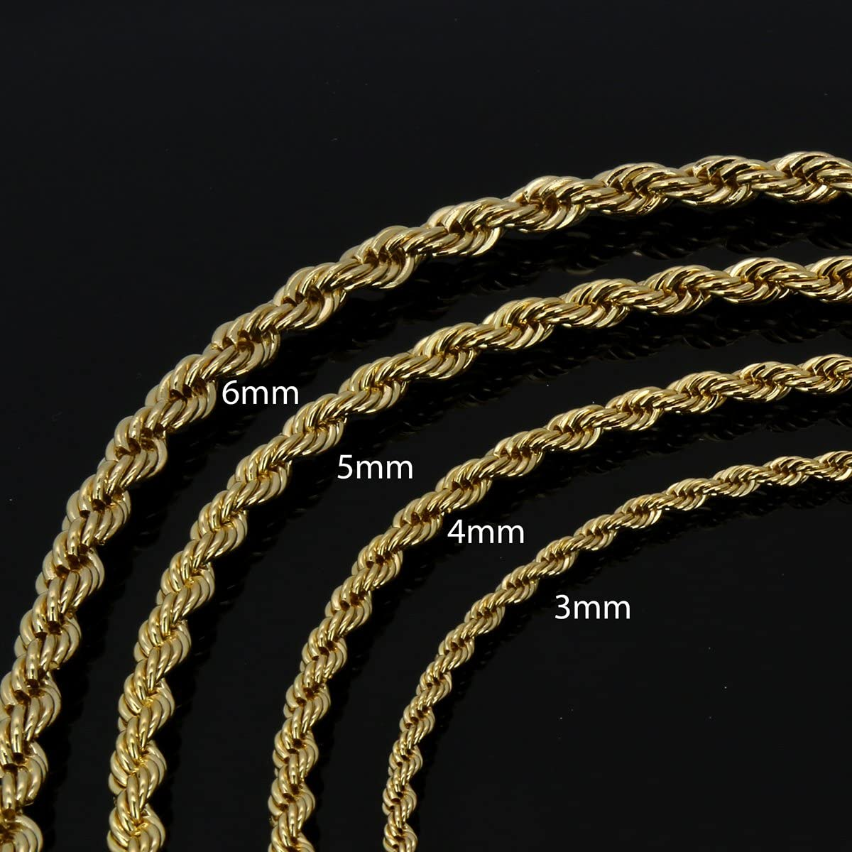 6mm 20-36 /& Gold Plated Bottom Grillz L2JK 14K Gold Plated Hip Hop High Fashion Rope Chain Necklace 3mm