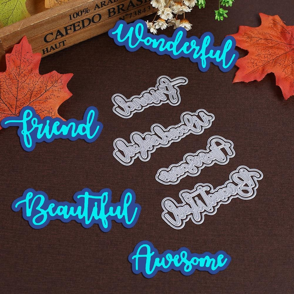 Demiawaking 4Pcs Complimentary Words Cutting Dies Stencils Embossing Template Frame for DIY Scrapbooking Album Card Making Crafts Decoration