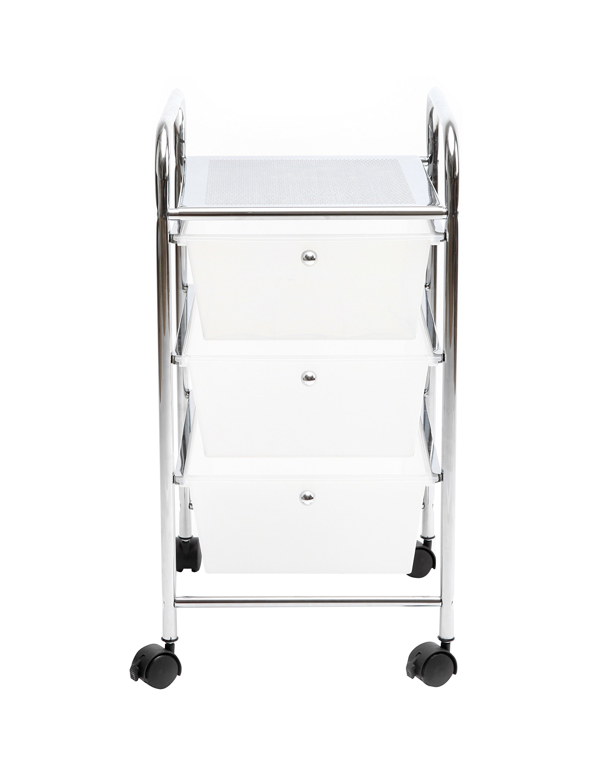 Finnhomy 3 Drawer Rolling Cart Organizer Storage Cart with Drawers Utility Cart for School Office Home Beauty Salon Storage Semi-Transparent White