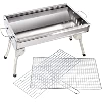 BEMALL Bhavya Enterprise mall Portable Flat Metal Charcoal Barbeque Stove Outdoor Garden Barbecue Grill with 1 Tong, 1 Oil Brush and 2 Skewers