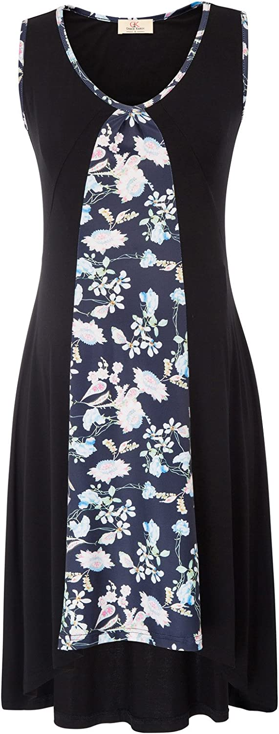 GRACE KARIN Womens V-Neck Knee Length Wrap Flower Printed Maternity Dress with Side Bow Tie