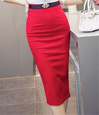 639297fd46 Image Unavailable. Image not available for. Color: Ladiamonddiva Skirt High  Waist Pencil Skirts Plus Size Tight Bodycon Fashion Women Midi Skirt Red  Black