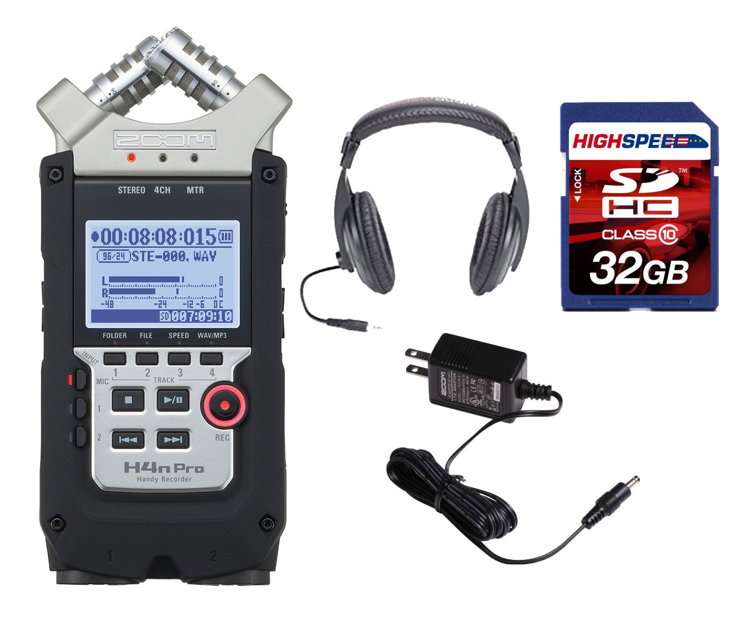 Zoom H4N PRO Digital Multitrack Recorder (2016 Version) + Zoom AD-14A/D Power Supply Adapter + Pro Headphones + 32GB Memory Card