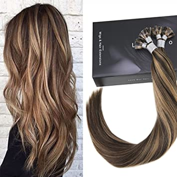 amazon com laavoo dark brown hair with caramel highlights flat tip