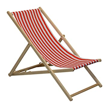 Superieur Traditional Adjustable Garden / Beach Style Deck Chair   Red / White Stripe