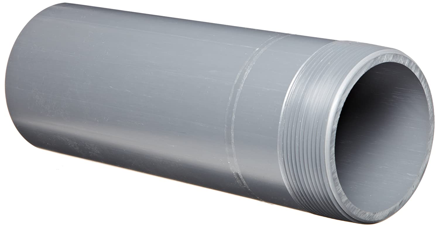 """Spears 188N Series PVC Pipe Fitting, Nipple, Thread on One End, Schedule 80, Gray, 1-1/2"""" NPT Male x Socket, 6"""" Length"""