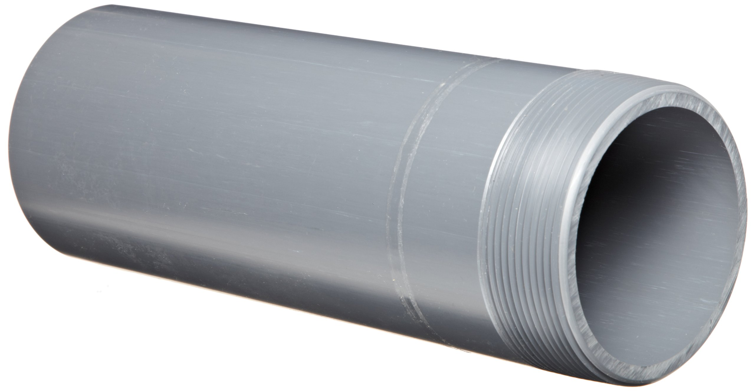 Spears 188N Series PVC Pipe Fitting, Nipple, Thread on One End, Schedule 80, Gray, 3'' NPT Male x Socket, 6'' Length