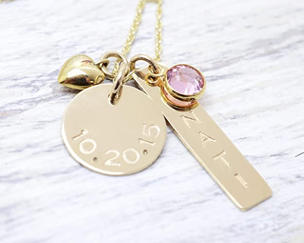 66aa5ebcd2000 14K Gold Filled Personalized Baby Name Necklace with Birth Month Crystal -  Mommy Birthstone Jewelry