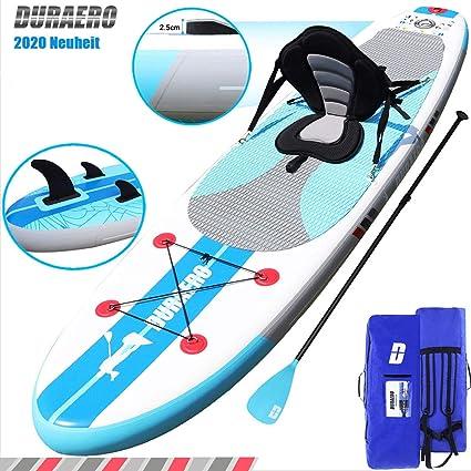 Integrierte Kick-Pad Komplettes Zubeh/ör 3 Finnen 305x76x15cm Kajak Sitz DURAERO SUP Board Set Stand up Paddling Board Aufblasbare Verstellbares Doppel-Paddel bis 110kg