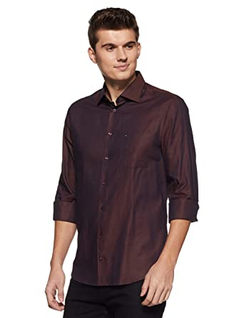 7f32d4b1 TOMMY HILFIGER Men's Solid Slim Fit Casual Shirt (A7AFW13938_Brown_38)