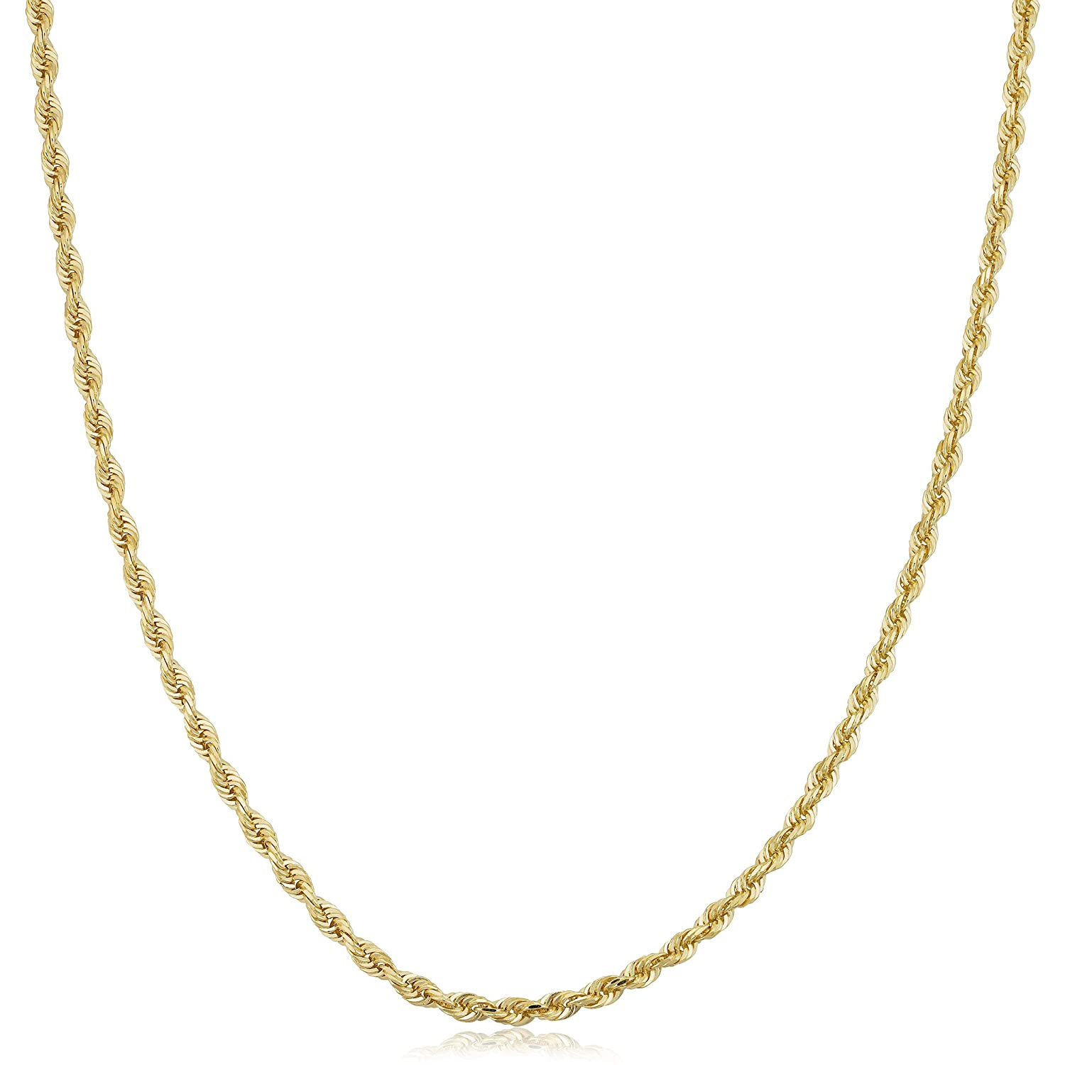 Kooljewelry Mens or Womens 10k Yellow Gold 2.6 mm Rope Chain Necklace