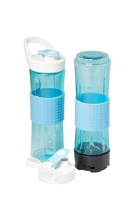 SUNTEC Smoothie Maker SMO-9936 [Incl. 2 botellas deportivas de 600 ml cada una con cierre de mosquetón, apto también para hielo, máx.