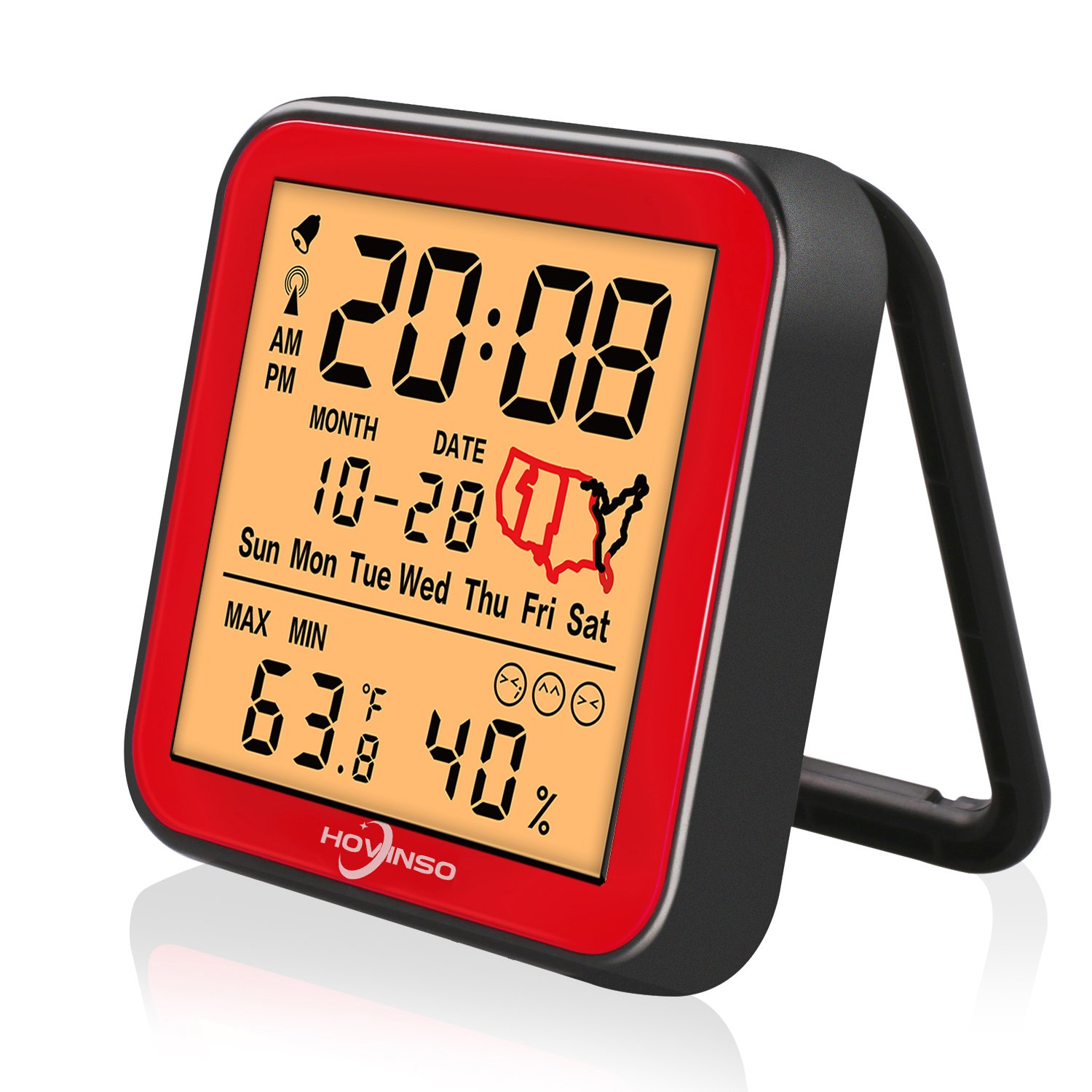 Hovinso Weather Station Clock with Temperature and Humidity Monitor, Indoor Wireless Radio Atomic Alarm Clock for Home Bedroom by Hovinso