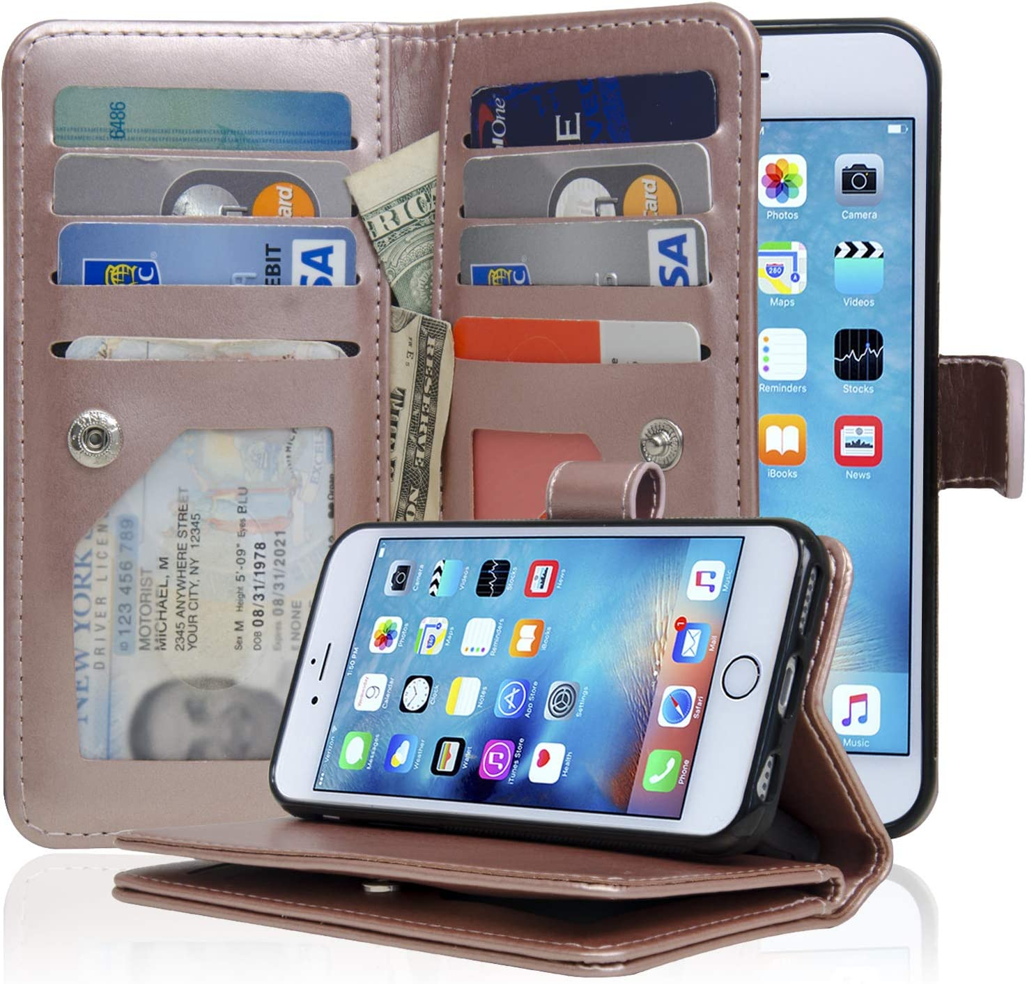 NAVOR Detachable Magnetic Housing Flip Wallet Case for iPhone 6 / 6S [4.7 Inch] - Rose Gold (IP63RG)