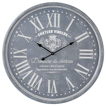 29d60136258fa Grande Horloge Pendule Murale en Bois Style Vintage - Diamètre 78 cm -  Coloris Gris patiné