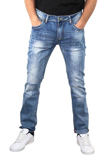 Black Ace Hombre vaqueros slim pantalones denim azul o negro 39 a 46: Amazon.es: Ropa y accesorios