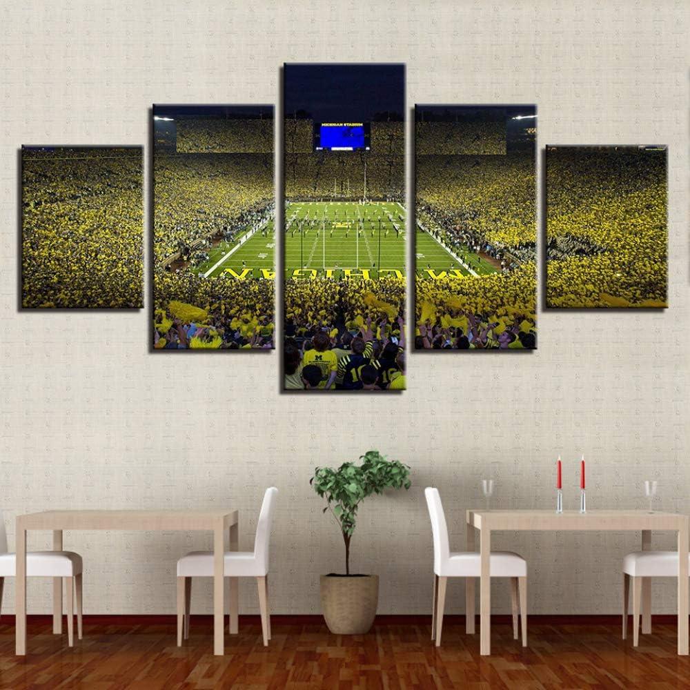 Marco Moderno Abstracto Wall Art Pictures Modular 5 Panel Campo de fútbol para Sala de Estar Decoración del hogar sobre Lienzo Pintura 1 40x60 40x80 40x100cm: Amazon.es: Hogar