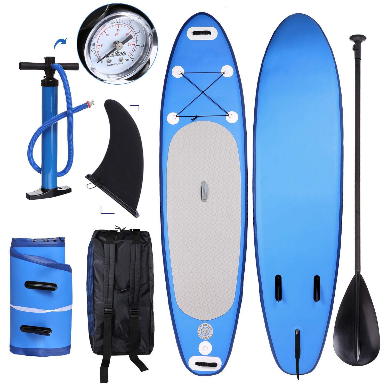38666f10b48e Inflatable Stand Up Paddle Board Bundle ISUP Surf Board Water Skiing (6  Inches Thick, 30 inches Wide) Travel Backpack and Accessories Paddle Leash  Included