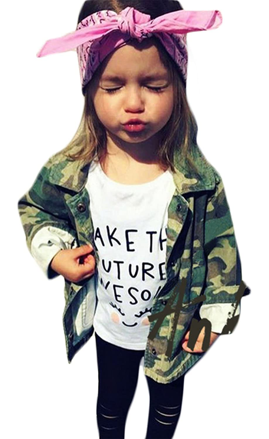 Little Girl's Camouflage Letters Print Coat Casual Denim Windbreaker Jackets SPORSET
