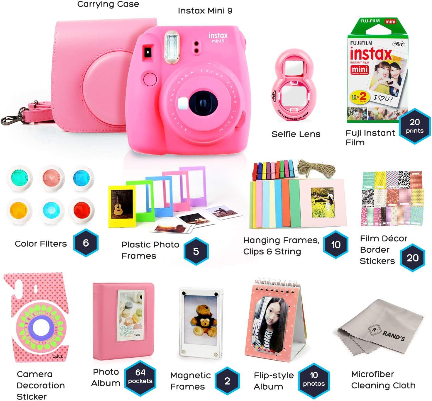 Carry Case 6 Color Filters + 11-in-1 Accessory Bundle 2 Photo Albums 20 Sheets Assorted Frames - Fuji Camera Instant Film Fujifilm Instax Mini 9 Bundle Cobalt Blue Selfie Lens /& Much More