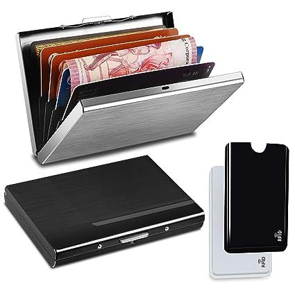 YOOZIRI Tarjetero para Tarjetas de Credito con RFID Bloqueo, 2pcs Fundas para Tarjetas de Crédito + 2pcs Porta Tarjetas de Aluminio para Tarjetas de ...