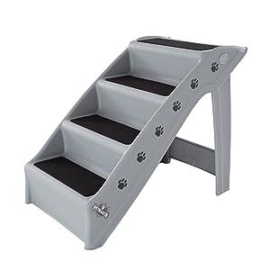 Folding Plastic Nonstick Pet Stairs, Durable Indoor or Outdoor, Multi-Step Design