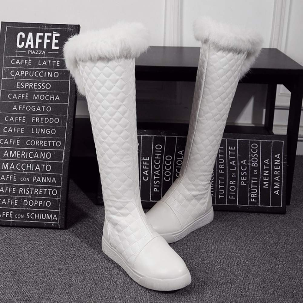 Women Winter Knee-High Boots Warm Fashion Short Plush Fur Zippers Patchwork Motorcycle Round Toe Shoes