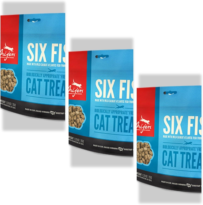 Orijen 3 Pack Six-Fish Freeze-Dried Cat Treats 1.25 Oz ea.