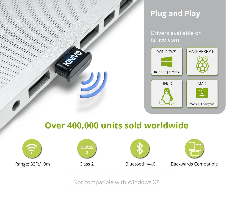 Kinivo BTD-400 Bluetooth USB Adapter For PC - For Windows 10 / 8 1 / 8 /  Windows 7 / Vista, Raspberry Pi , Linux, Stereo Headset , Classic Bluetooth