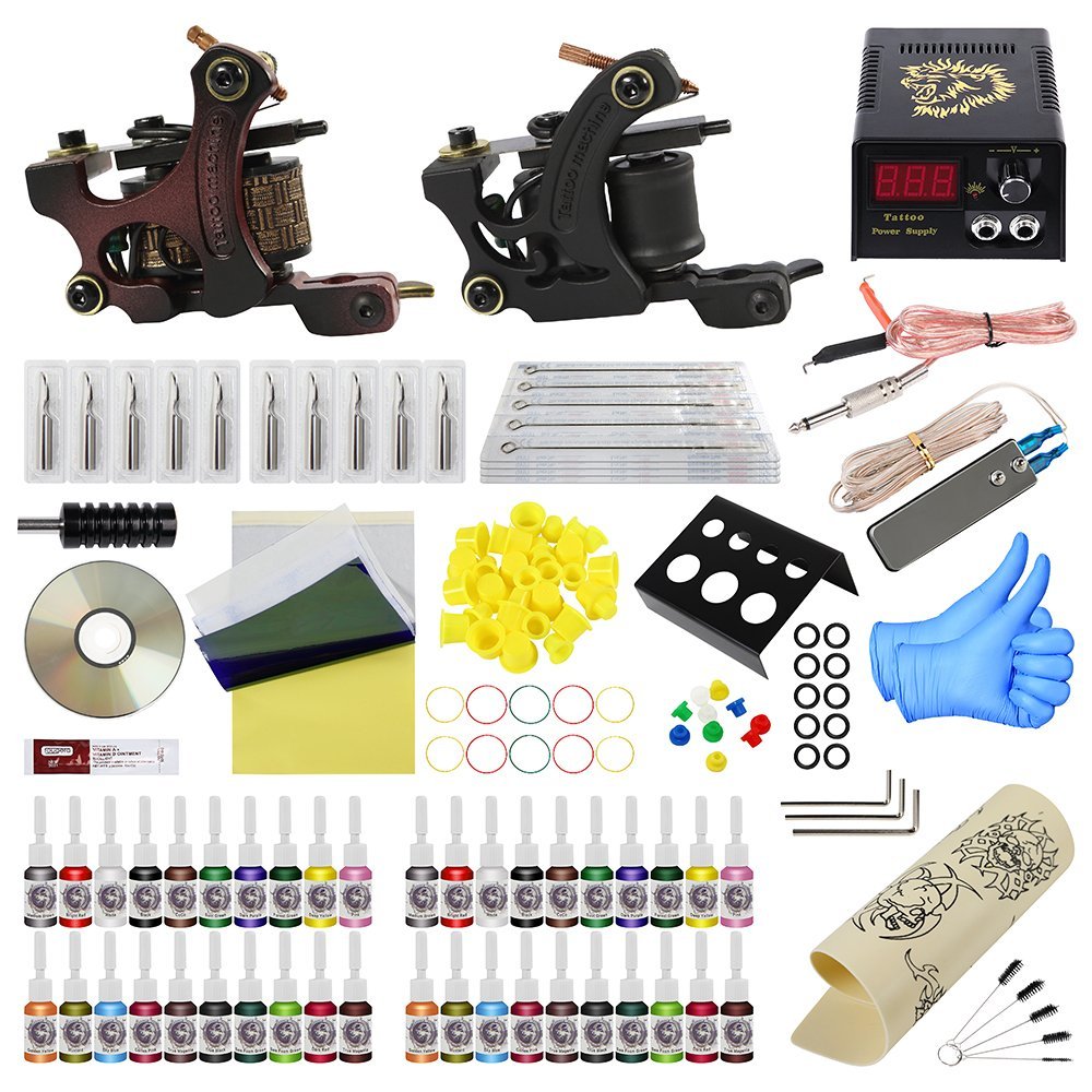 ITATOO Complete Tattoo Kit for Beginners Tattoo Power Supply Kit 40 Tattoo Inks 20 Tattoo Needles 2 Pro Tattoo Machine Kit Tattoo Supplies PX110016