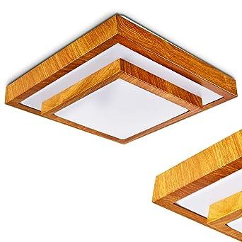 Elegant Moderner LED Deckenstrahler In Holz Optik U2013 Badezimmer Lampe Sora U2013  Warmweißes Deckenlicht 1380