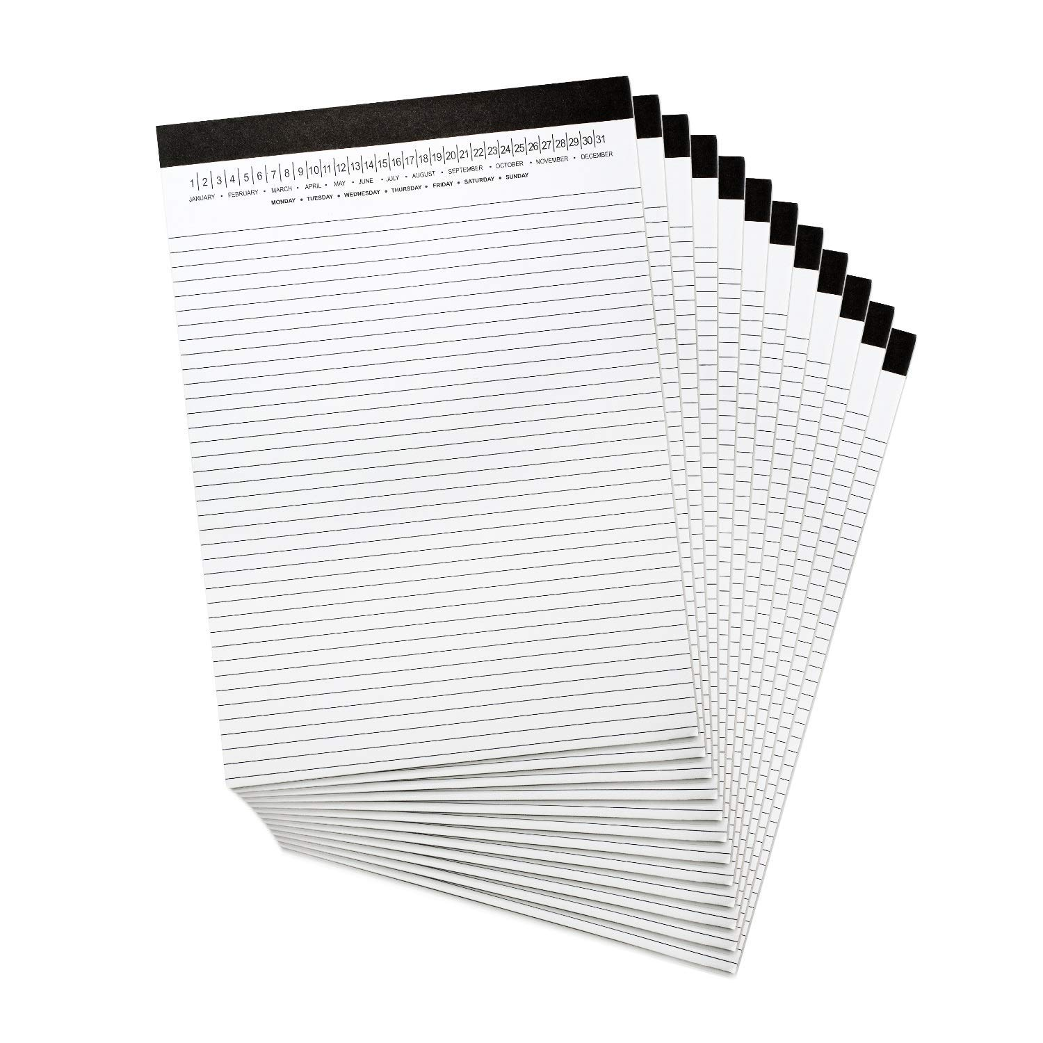 Narrow Ruled Legal Pads 8.5 x 11 with Date on Top White Note Pads College Ruled Writing Tablets for Office 50 Sheets, 3 Pack Refill Pad School