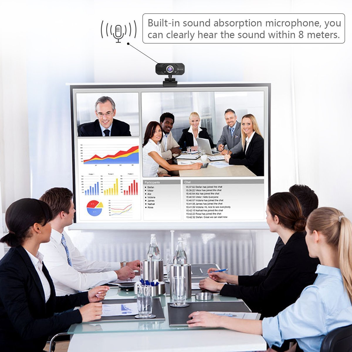 720P HD Webcam, EIVOTOR USB Mini Computer Camera with Built-in Microphone for Laptops and Desktop,Black by EIVOTOR (Image #5)