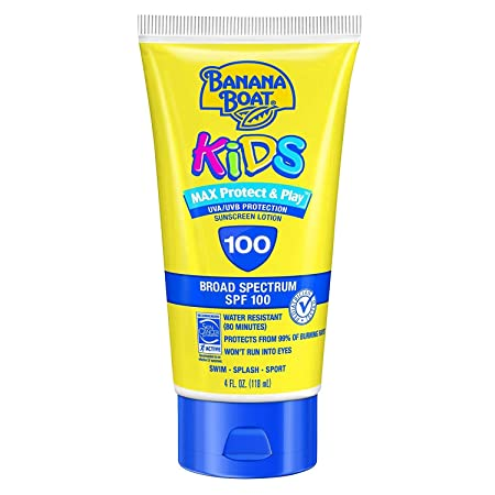 Banana Boat Kids Max Protect Play Broad Spectrum Sunscreen SPF 100 4 oz Pack of 8