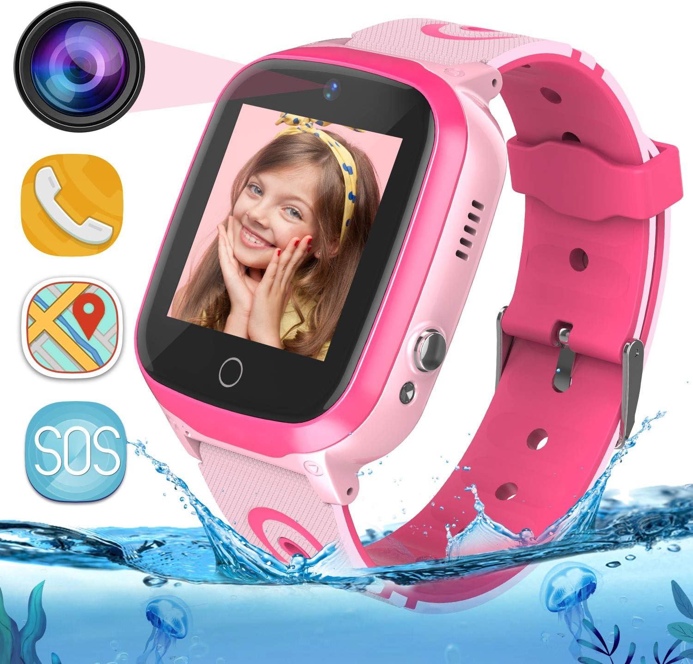 MeritSoar Tech GPS Smartwatch para Niños - WiFi + GPS + LBS Tracker Phone Smart Watch con Contador de Pasos Geo Fence Cámara Calling SOS Chat de Voz Juego para 3-12 Niños Compatible iOS/Android